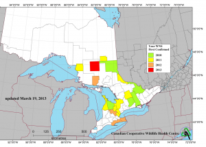 Updated map of WNS in Ontario