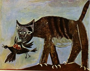 Cat Catching a Bird - Pablo Picasso 1939