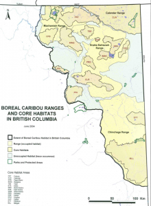 Boreal caribou herd ranges and core habitats in northeastern British Columbia. From: British Columbia Ministry of the Environment. (2010). Science update for the boreal caribou (Rangifer tarandus caribou pop. 14) in British Columbia. Victoria, BC. 54 pp.